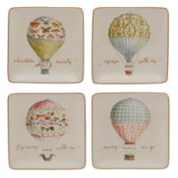 Certified International Beautiful Romance Balloon Canape Plates (Set of 4)