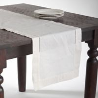 Saro Lifestyle Classic Hemstitch 120-Inch Table Runner in Ecru