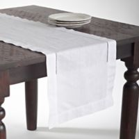 Saro Lifestyle Classic Hemstitch 120-Inch Table Runner in White