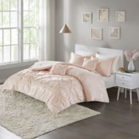 Intelligent Design Adele Metallic 5-Piece Full/Queen Comforter Set in Blush/Gold