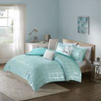 Intelligent Design Raina 5-Piece Full/Queen Duvet Cover Set in Aqua/Silver