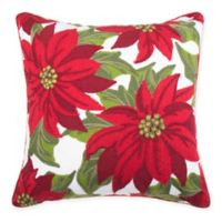 Poinsettia Embroidered Square Throw Pillow in Red