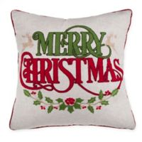 Merry Christmas Embroidered Square Throw Pillow in Red