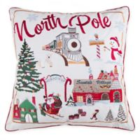 North Pole Square Throw Pillow in Red