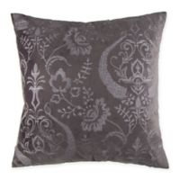 Damask Embroidered Velvet Square Throw Pillow in Grey
