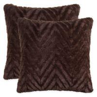 Herringbone Faux Fur 18-Inch Square Throw Pillows in Brown (Set of 2)