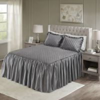Madison Park Roxanne Velvet Queen Bedspread Set in Grey