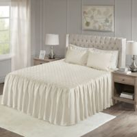 Madison Park Roxanne Velvet Queen Bedspread Set in Ivory