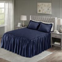 Madison Park Roxanne Velvet King Bedspread Set in Navy
