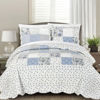 Blissful Living Beatrice King Quilt Set in Blue
