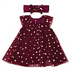 Baby Starters® Size 3M 2-Piece Tulle Bodysuit Dress and Headband Set in Burgundy