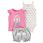 carter's® Size 3M 3-Piece Rainbow Bodysuit, Top and Diaper Cover Set