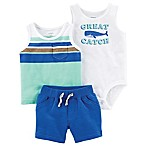 carter's® Newborn 3-Piece Great Catch Tank, Bodysuit, and Short Set in White