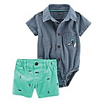 carter's® Size 12M 2-Piece Chambray Bodysuit and Twill Short Set in Blue