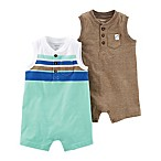 carter's® Size 12M 2-Pack Rompers in Green/Brown