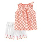 carter's® Size 9M 2-Piece Poplin Top and Scallop Short Set in Orange/White