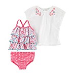 carter's® Size 9M 3-Piece Floral Tankini Swimsuit and Cover-Up Set in Pink
