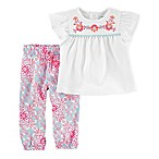 carter's® Newborn 2-Piece Embroidered Flutter Sleeve Top and Floral Poplin Pant Set