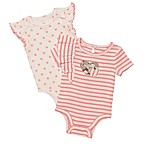 Baby Starters® Size 3M 2-Pack Striped Heart Short Sleeve Bodysuits in Coral
