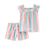 carter's® Size 6M 2-Piece Striped Shirt and Short Set in Pink/Blue