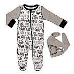 "Baby Starters® Size 3M 2-Piece ""Can't Touch This"" Footie and Bib Set in Grey"