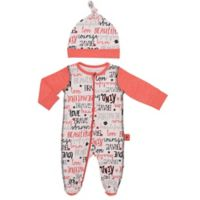 Baby Starters® Size 6M 2-Piece Words Footie and Hat Set in White