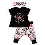 "Baby Starters® Size 9M 3-Piece ""Love"" Floral Shirt, Pant and Headband Set in Black"