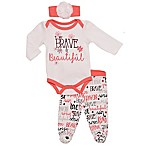 "Baby Starters® Size 6M 3-Piece ""Brave & Beautiful"" Bodysuit, Pant and Headband Set"