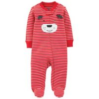 carter's® Size 3M Zip-Front Striped Dog Sleep & Play Footie in Red