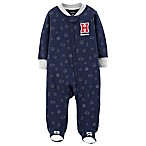 carter's® Size 3M Zip-Front All-Star Sleep & Play Footie in Navy