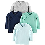 carter's® Newborn 4-Pack Side-Snap Shirts in Blue