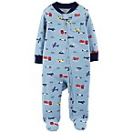 carter's® Size 3M Zip-Front Transportation Sleep & Play Footie in Blue