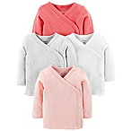 carter's® Size 3M 4-Pack Side-Snap Long Sleeve Tees in Pink