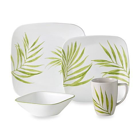 Corelle 174 Vive Bamboo Leaf 16 Piece Dinnerware Set Bed