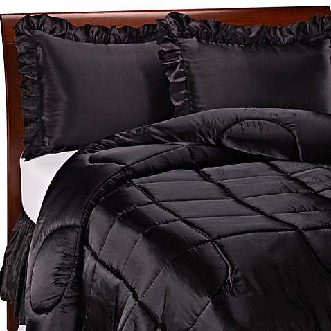 Charmeuse black satin comforter set bed bath beyond for Silk sheets queen bed bath beyond