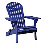 Acacia Wood Adirondack Folding Chair in Blue