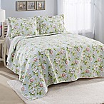 Laura Ashley® Carlisle Reversible Full/Queen Quilt Set in Mist