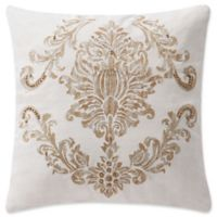 Waterford® Annalise Damask Square Throw Pillow in Gold