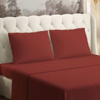 Brielle 630-Thread-Count 100% Cotton Sateen Full Sheet Set in Brick Red