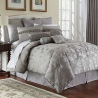 Marquis® By Waterford Samantha Jacquard Reversible Queen Comforter Set in Platinum