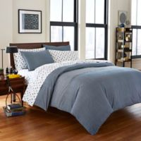 Poppy & Fritz® Thompson Reversible Full/Queen Comforter Set in Navy