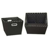 Household Essentials® Medium Fabric 2-Toned Tapered Bins in Black (Set of 2)