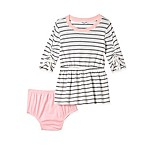 Splendid Kids Size 6-12M 2-Piece Striped Dress and Diaper Cover Set in Grey/Pink