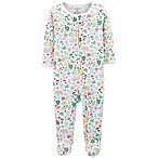 carter's® Newborn Zip-Up Floral Thermal Sleep & Play Footie in Ivory