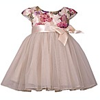 Bonnie Baby Size 3-6M Floral Sparkle Lace Ballerina Dress in Ivory