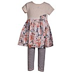 Bonnie Baby Size 3-6M 2-Piece Floral Chiffon Skirt Dress and Legging Set