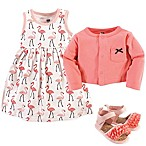 Hudson Baby® Size 6-9M Flamingos 4-Piece Dress, Cardigan and Shoe Set in Pink