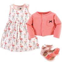 Hudson Baby® Size 3-6M Flamingos 4-Piece Dress, Cardigan and Shoe Set in Pink
