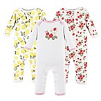 Hudson Baby® Size 0-3M 3-Pack Strawberry/Lemon Long Sleeve Union Suits