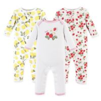 Hudson Baby® Size 12-18M 3-Pack Strawberry/Lemon Long Sleeve Union Suits